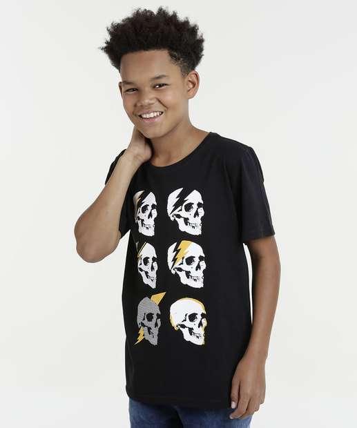 Image_Camiseta Juvenil Caveiras Manga Curta Marisa