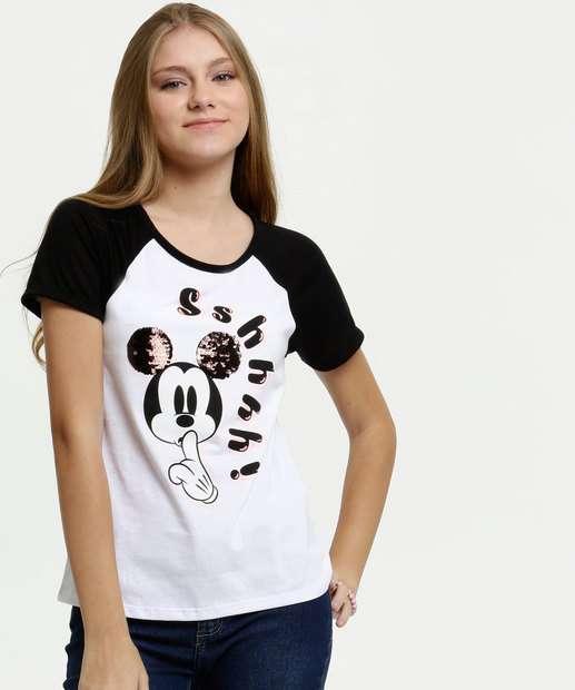 Image_Blusa Juvenil Estampa Mickey Paetês Manga Curta Disney