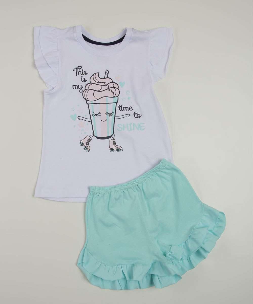 Pijama Infantil Manga Curta Estampado Tam 1 a 3