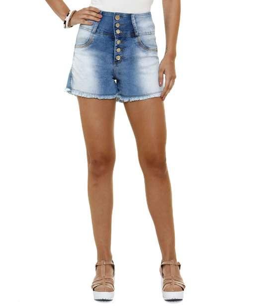 Image_Short feminino jeans strass Cintura Alta Marisa