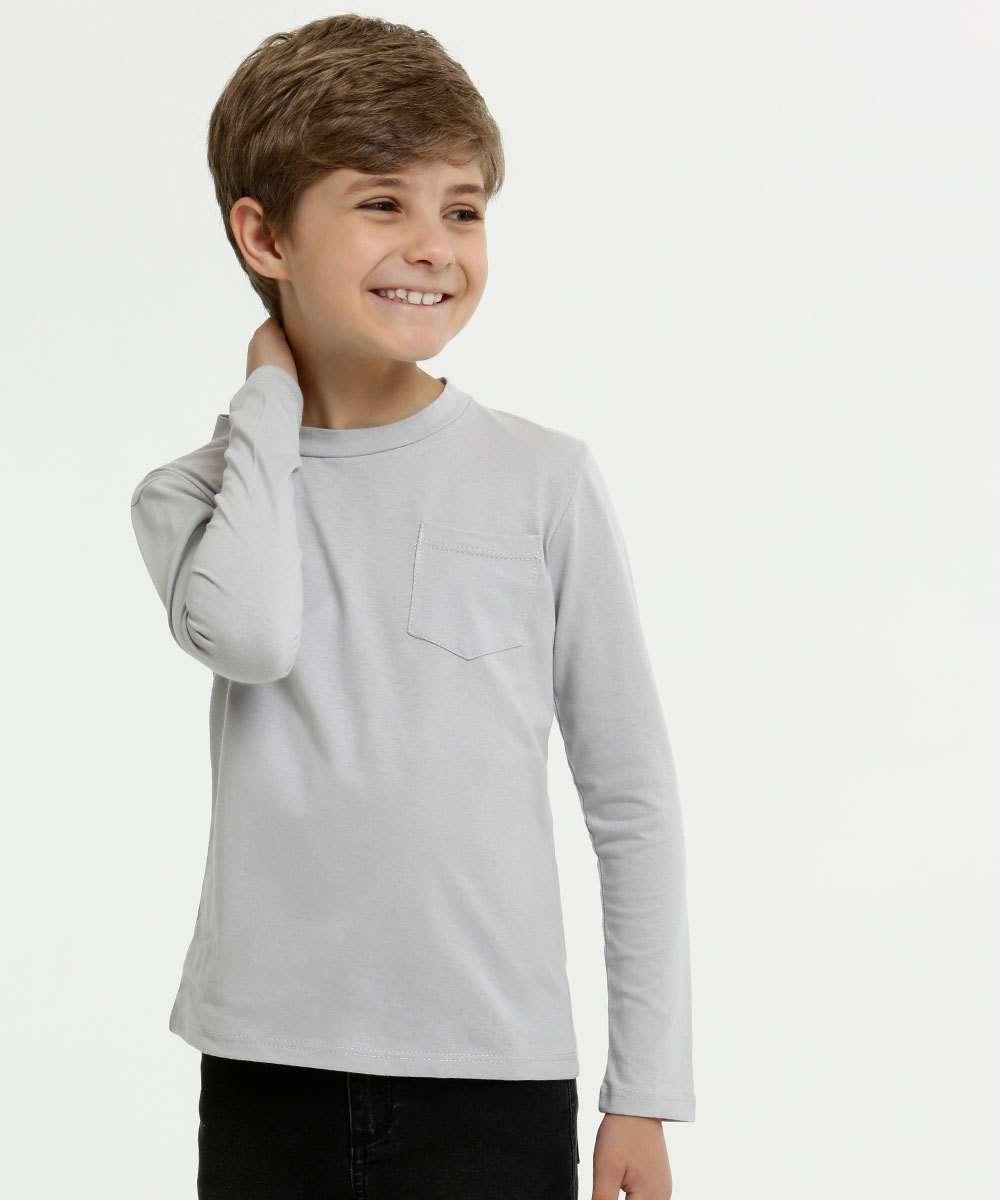 Camiseta Infantil Bolso Manga Longa