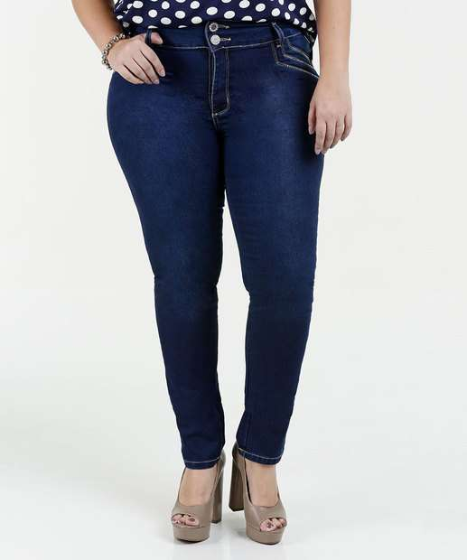 Image_Calça Feminina Jeans Strass Skinny Plus Size Sawary