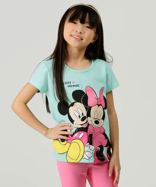 Image_Blusa Infantil Manga Curta Minnie e Mickey Disney Tam 4 a 10