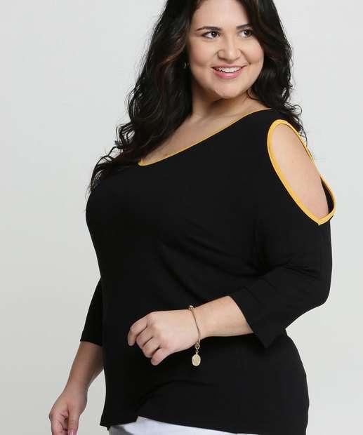 Image_Blusa Feminina Open Shoulder Viés Plus Size