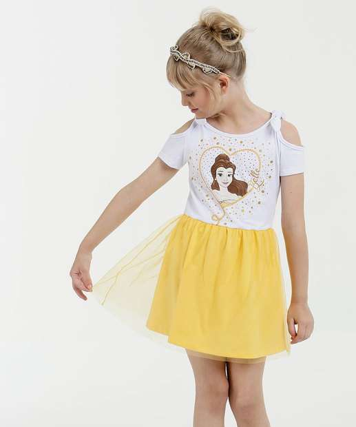 Image_Vestido Infantil Estampa Bela Manga Curta Disney