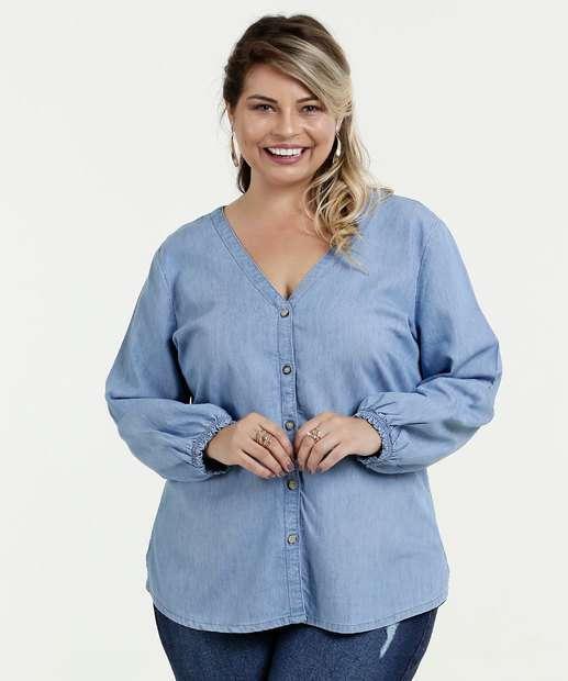 Image_Camisa Feminina Jeans Botões Plus Size Marisa
