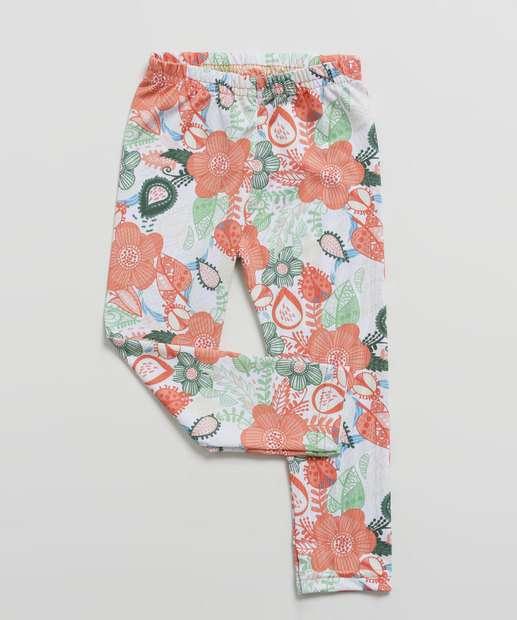 Image_Calça Infantil Legging Estampa Floral Tam 1 a 3