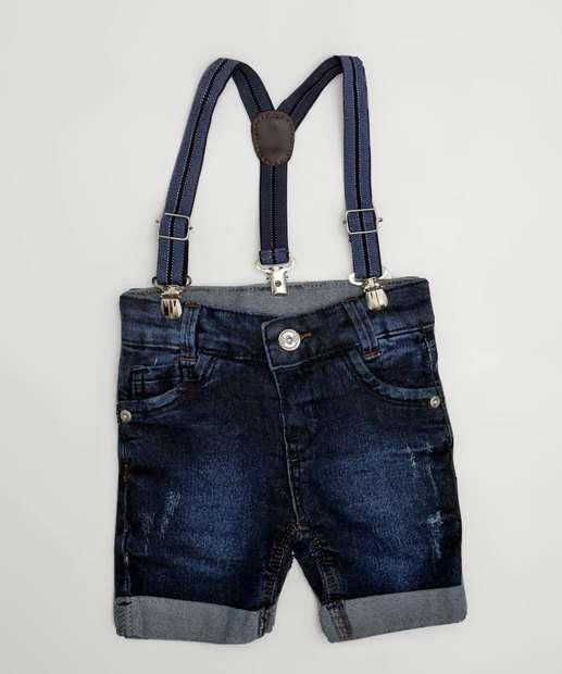 Image_Bermuda Infantil Jeans Puídos Barra Dobrada Akiyoshi Denim