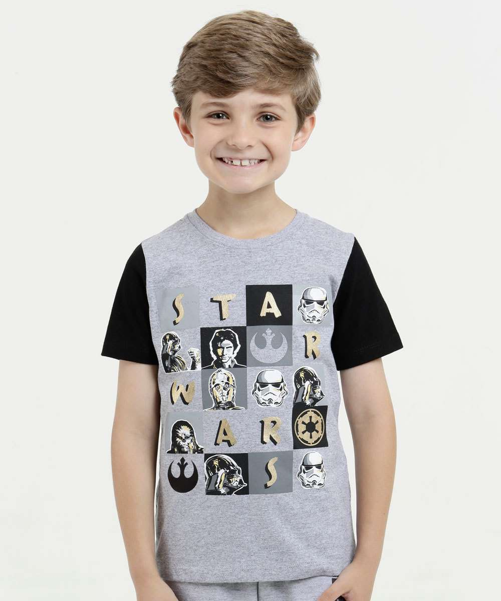 Camiseta Infantil Estampa Star Wars Manga Curta Disney