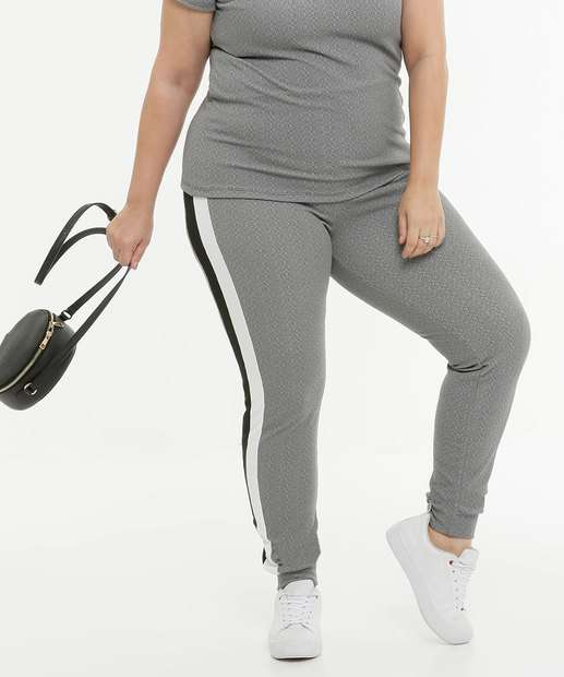 Image_Calça Plus Size Feminina Jogger Listras