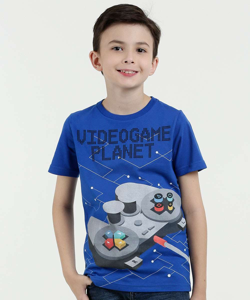 Camiseta Infantil Estampa Video Game Manga Curta Marisa