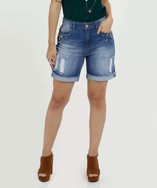 aec486b929b Bermuda Feminina Jeans Puídos Marisa