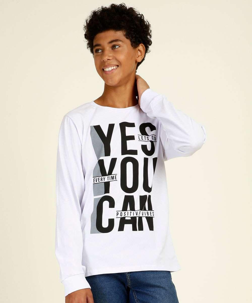 Camiseta Juvenil Manga Longa Estampa Frontal Tam 12 a 16