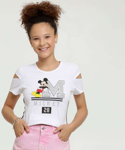 Image_Blusa Juvenil Open Shoulder Estampa Mickey Manga Curta Disney