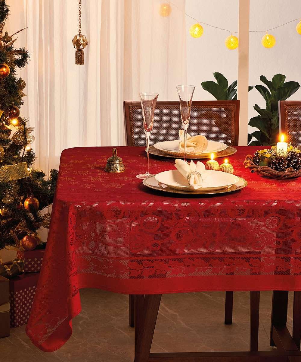 Toalha de Mesa Retangular Renda Natal Lepper