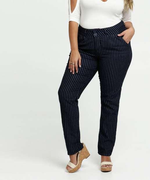 Image_Calça Feminina Sarja Listrada Skinny Plus Size Razon