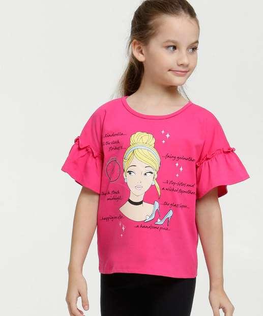 Image_Blusa Infantil Estampa Cinderela Manga 3/4 Disney