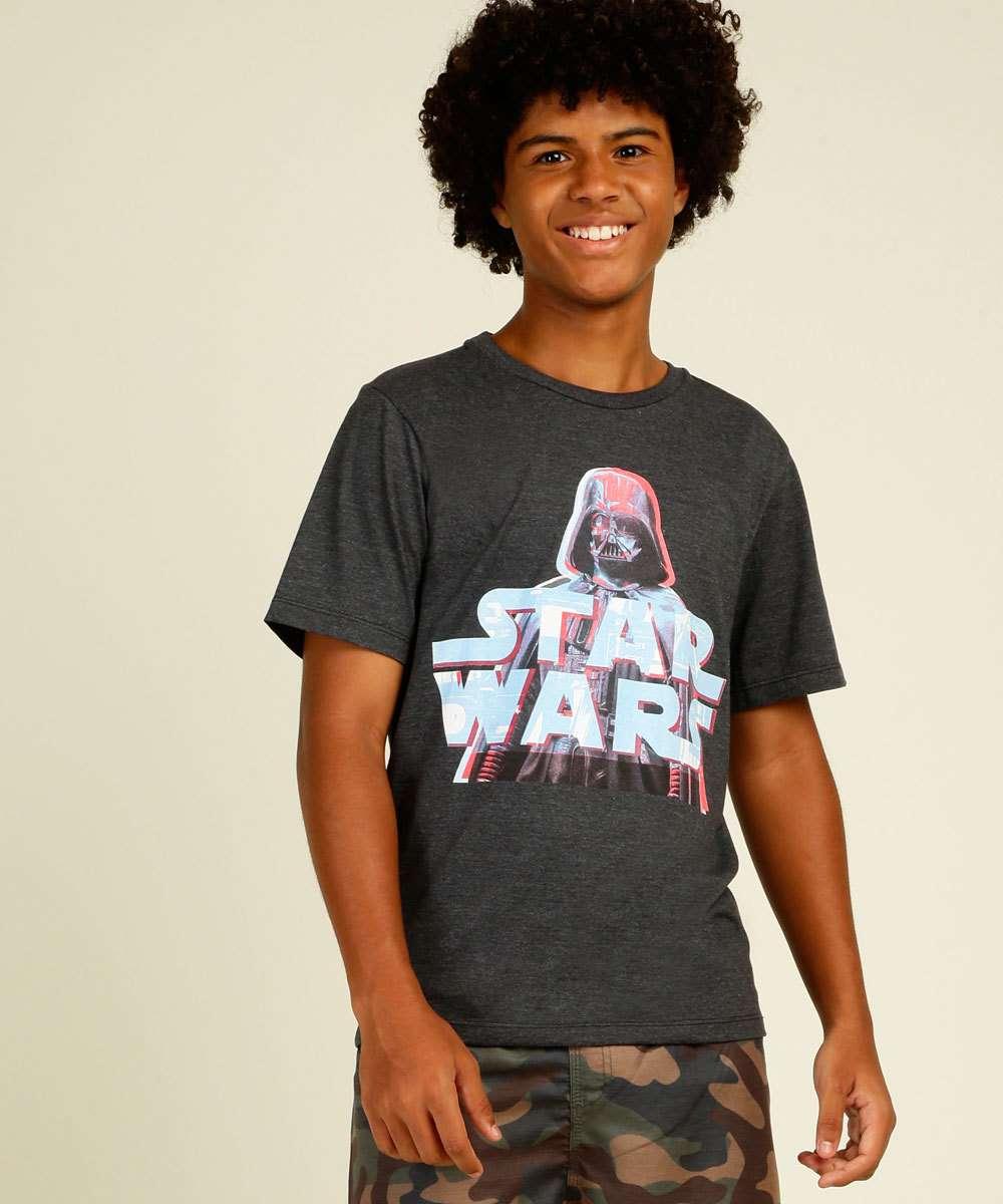 Camiseta Juvenil Manga Curta Star Wars Disney Tam 10 a 16