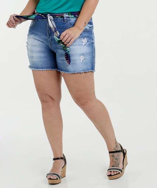 Image_Short Feminino Jeans Destroyed  Plus Size Razon