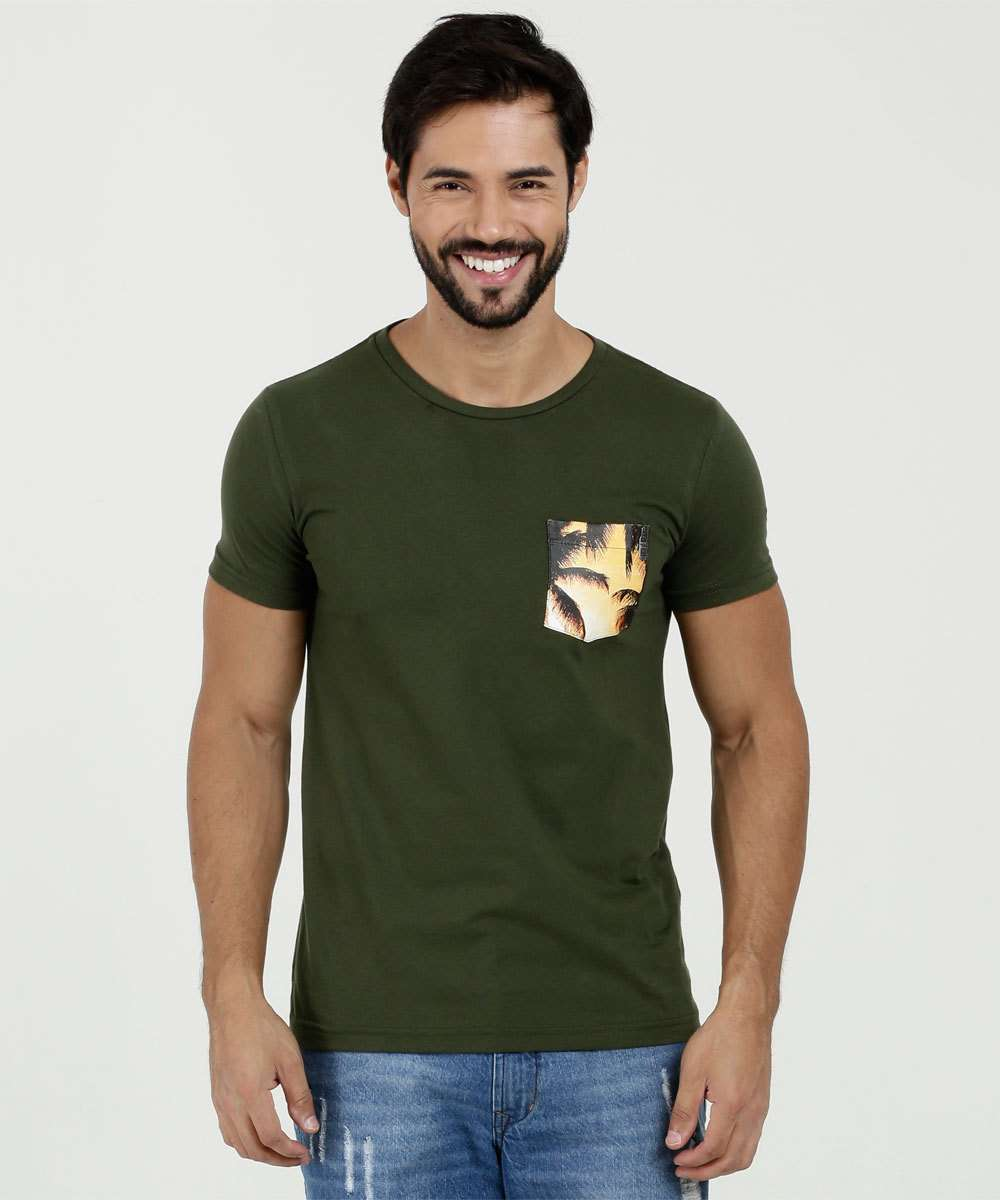 Camiseta Masculina Estampa Frontal Manga Curta Rock & Soda
