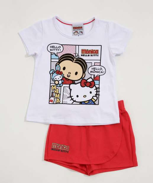 Image_Conjunto Infantil Estampa Mônica e Hello Kitty Sanrio