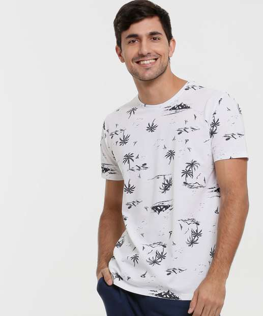 Image_Camiseta Masculina Estampa Coqueiro Manga Curta