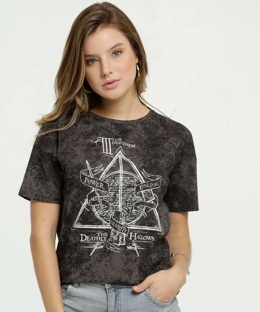 Image_Blusa Feminina Estampa Harry Potter Manga Curta Warner Bross