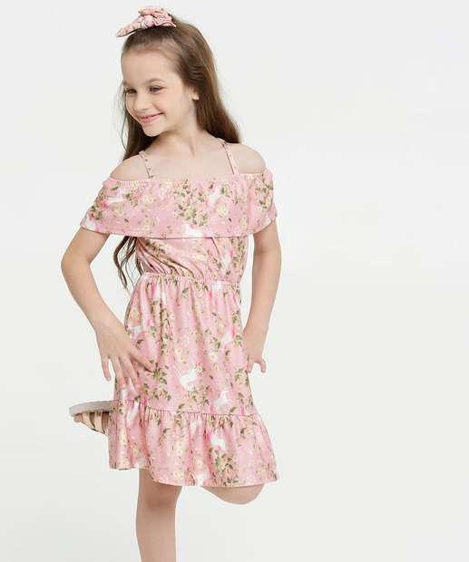 Image_Vestido Infantil Open Shoulder Estampa Floral Brinde Marisa