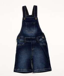 Macacão Infantil Jeans Bolso Frontal Marisa