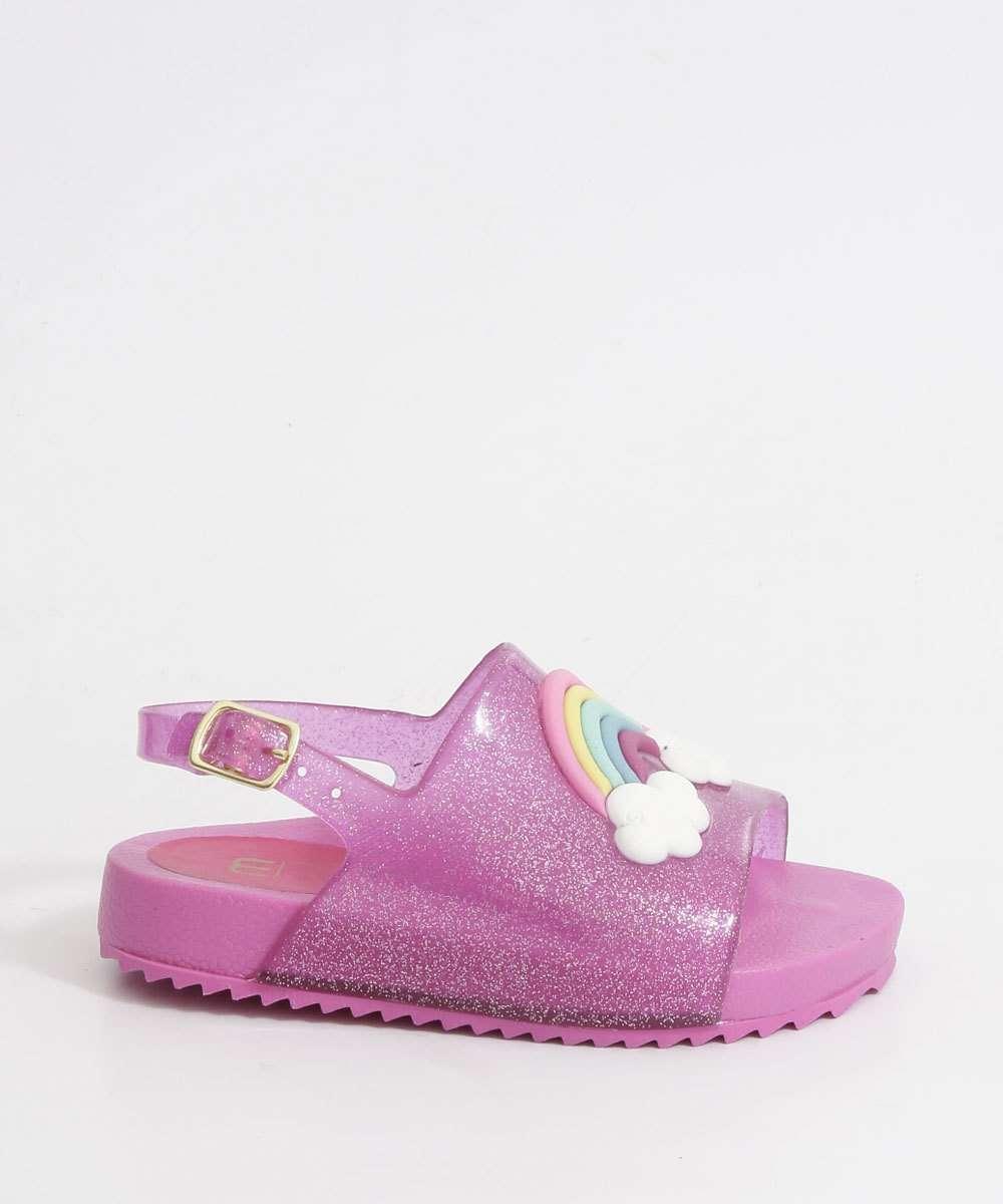 Sandália Infantil Glitter Estampa Arco Íris