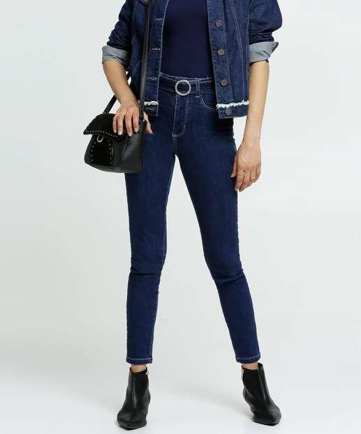 Image_Calça Jeans Stretch Skinny Feminina Cinto Sawary