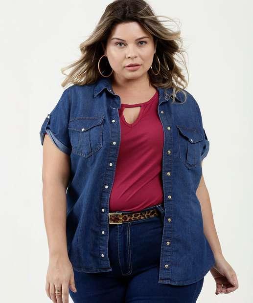 Image_Camisa Feminina Jeans Plus Size Manga Curta
