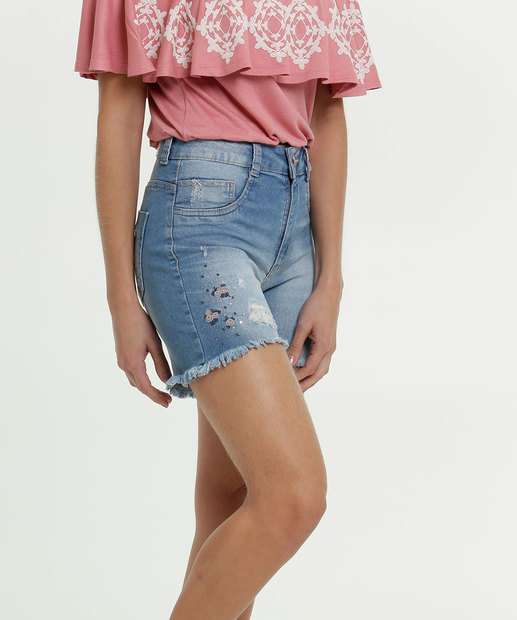 Image_Short Jeans Feminino Destroyed Bordado Flores Biotipo
