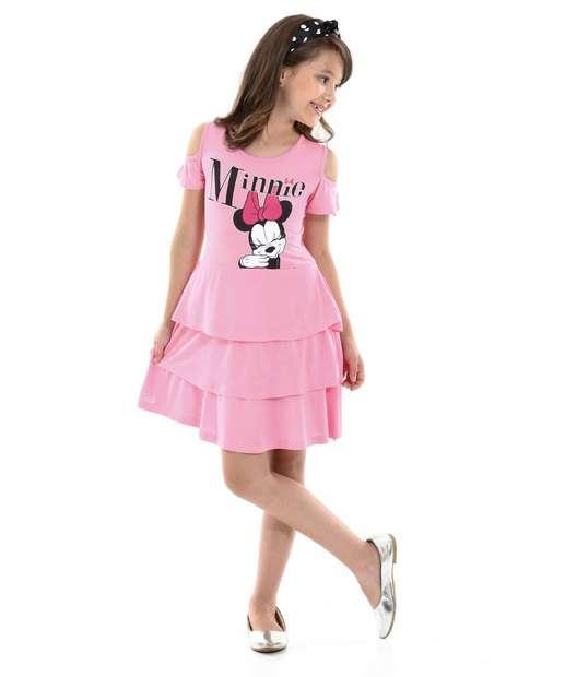 Image_Vestido Infantil Open Shoulder Estampa Minnie Disney