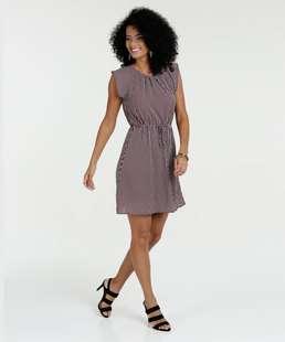 Vestido Feminino Crepe Estampado Sem Manga Marisa