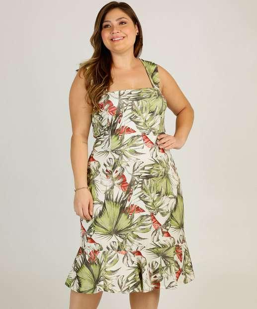 Image_Vestido Plus Size Midi Feminino Estampa Folhas Marisa