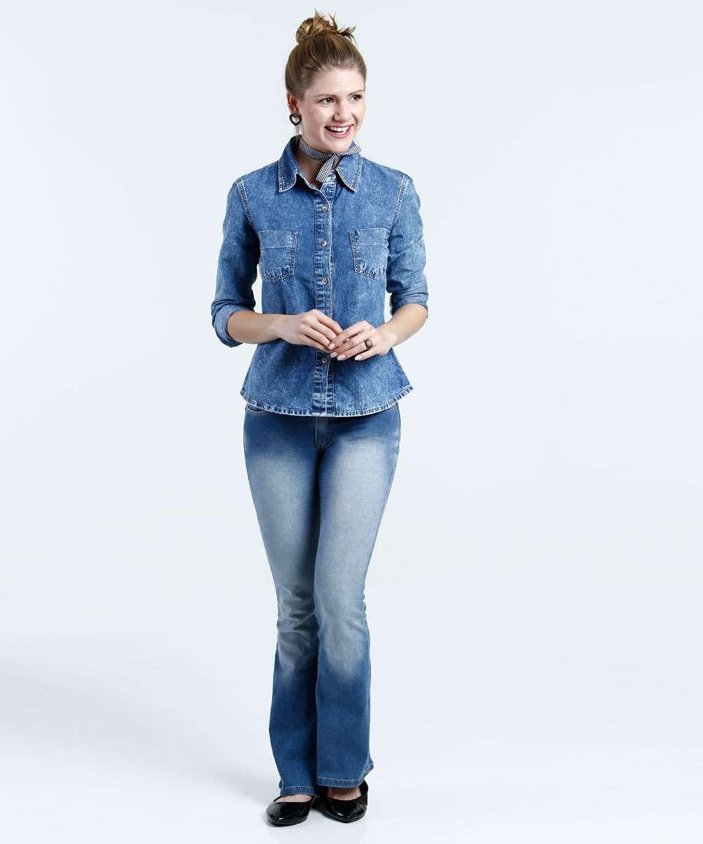 abe3e020d1 1  2  3  4  5  6  7  8. Compartilhar. adicionar aos favoritos produto  favoritado. Camisa Feminina Jeans Marmorizada Manga Longa Marisa