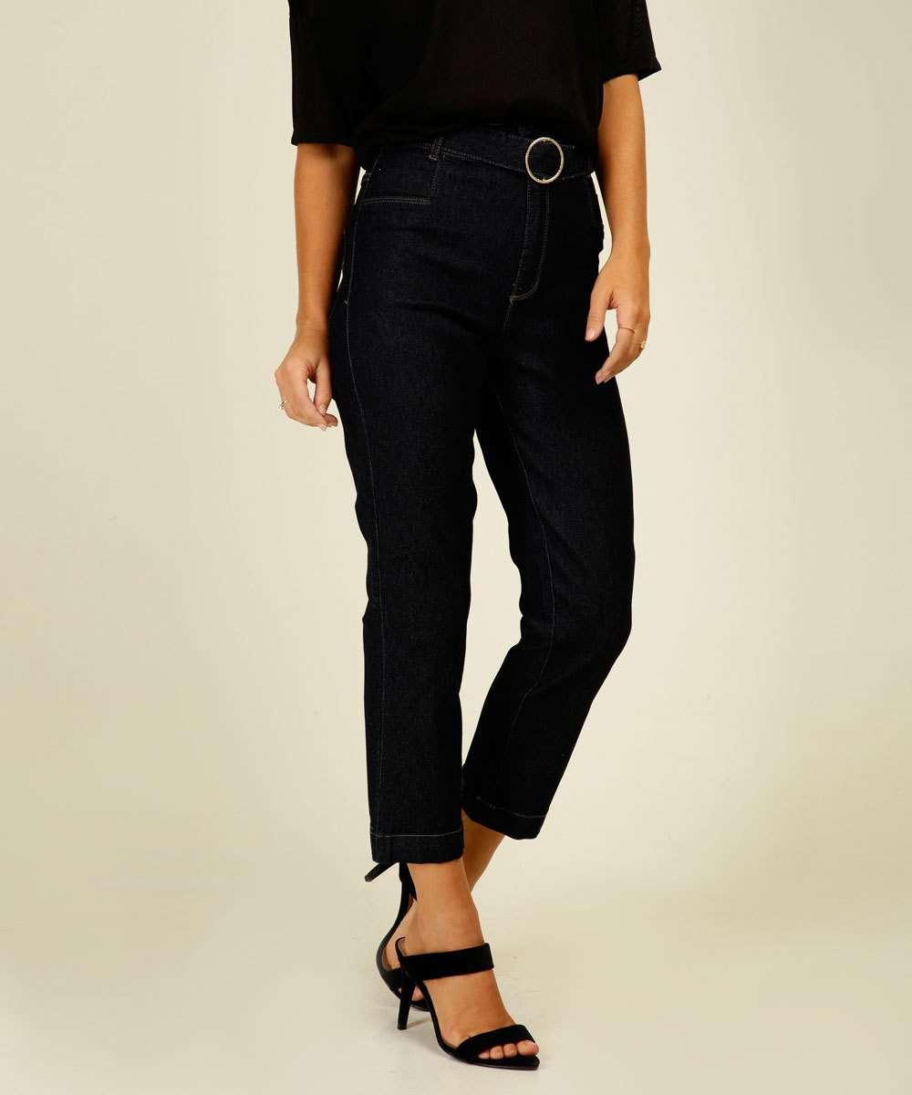 Calça Jeans Reta Feminina Cinto Sawary
