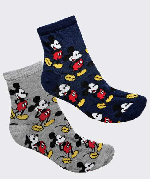 Image_Kit 2 Pares Meias Soquete Feminina Mickey Disney