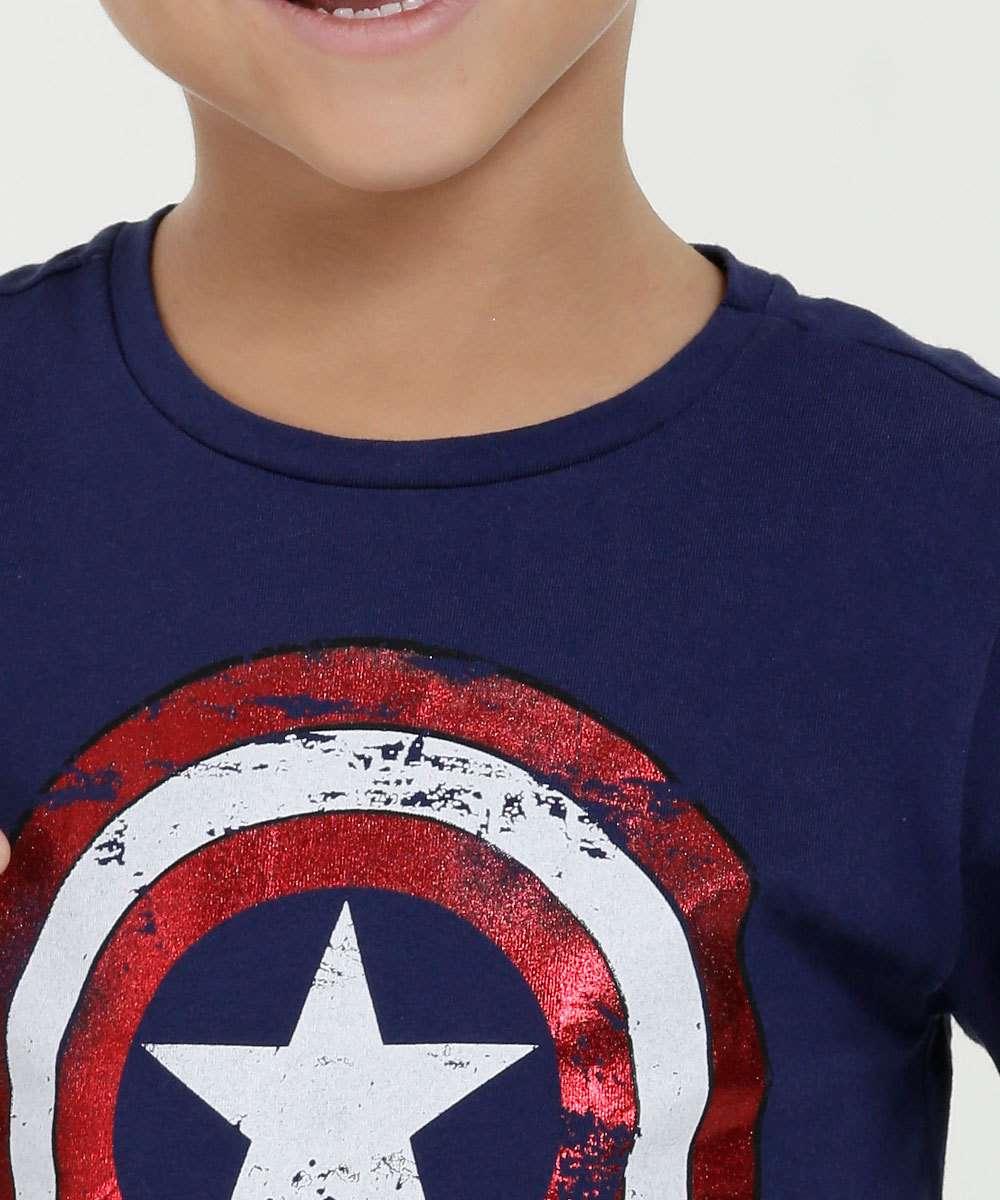 e92cbac47 Camiseta Infantil Estampa Capitão América Manga Curta Marvel
