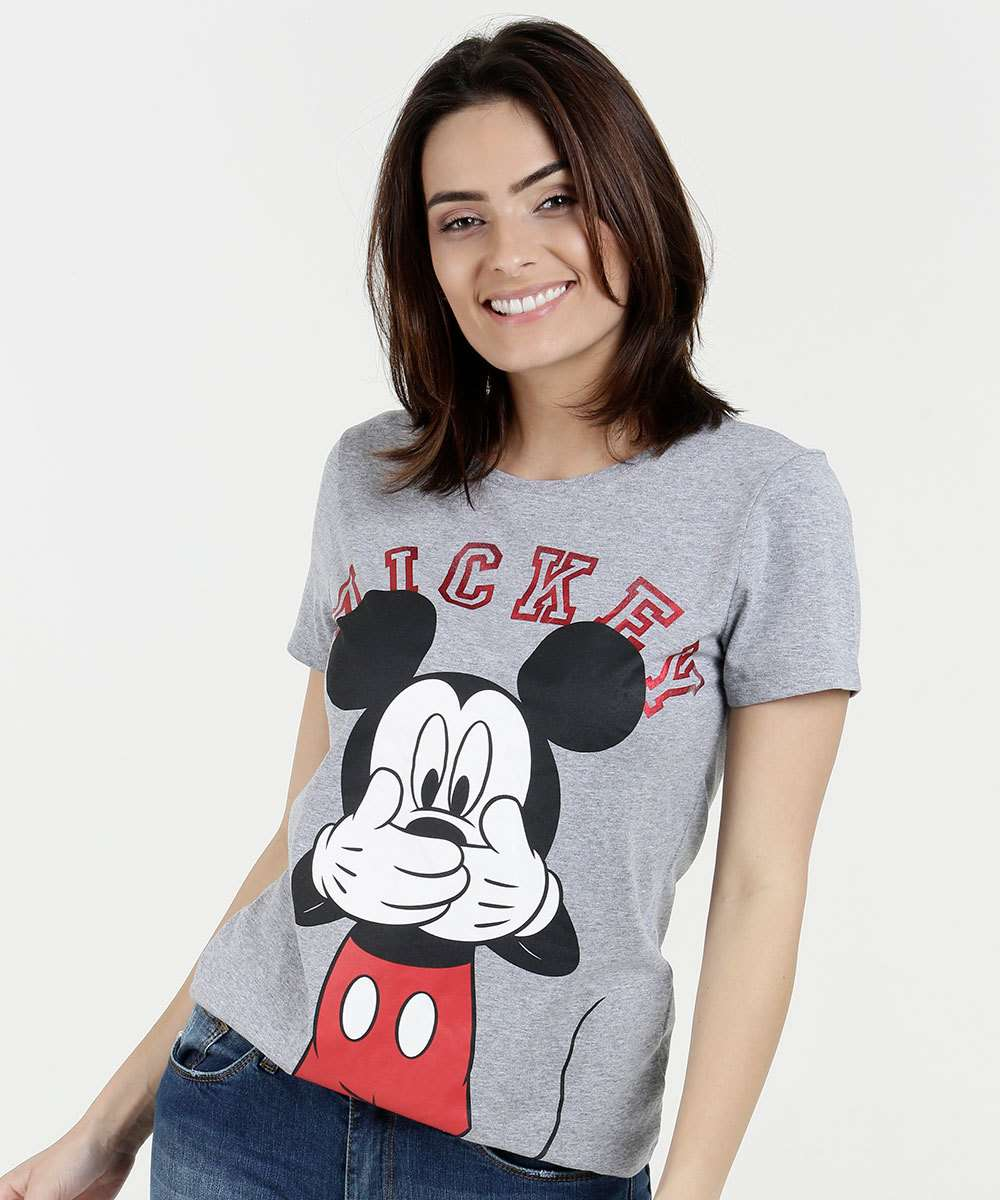 08cd925f3 Blusa Feminina Mickey Manga Curta Disney