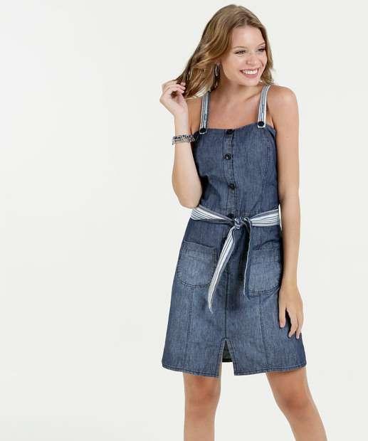 Image_Vestido Feminino Jeans Curto Alças Finas Gups