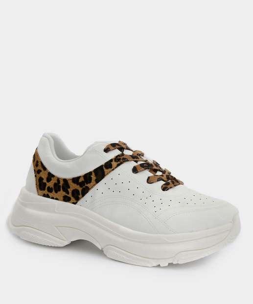 Image_Tênis Feminino Chunky Sneaker Recorte Animal Print Bebecê