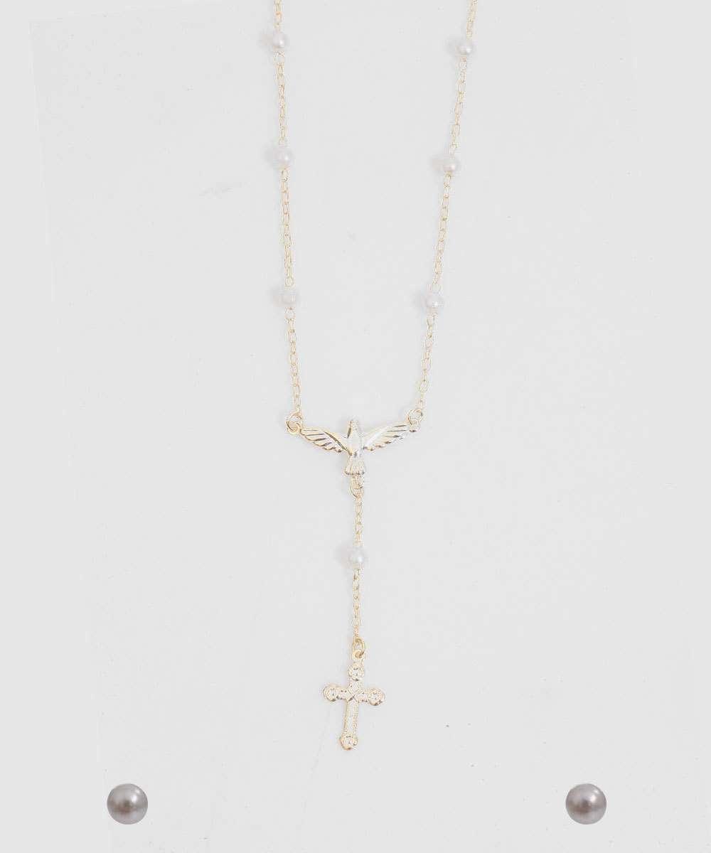 Kit Colar Brincos Feminino Crucifixo Marisa