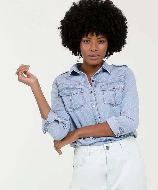 Image_Camisa Feminina Jeans Manga Longa Gups
