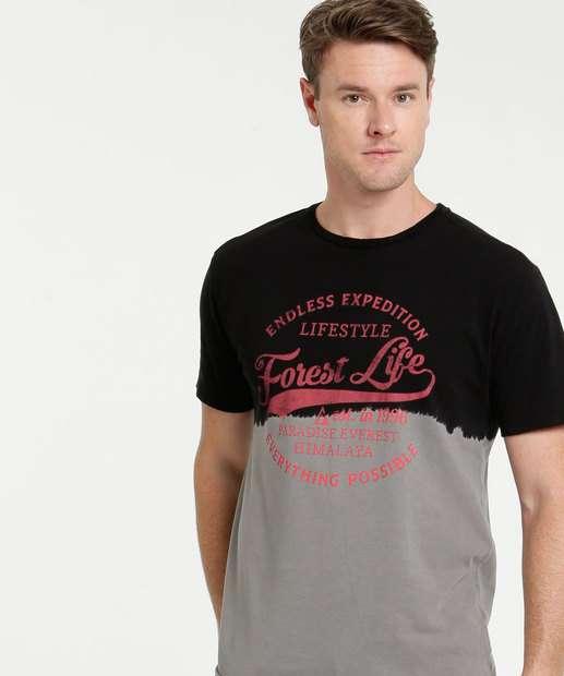 Image_Camiseta Masculina Bicolor Estampa Frontal Manga Curta