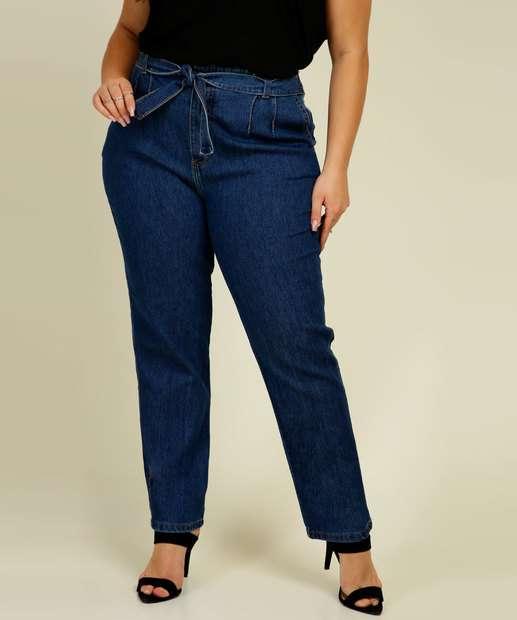 Image_Calça Plus Size Mom Feminina Jeans Amarração Biotipo