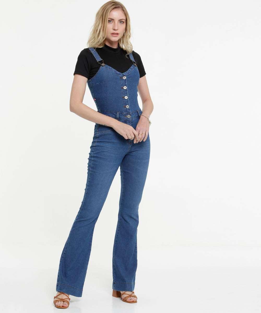 Macacão Feminino Jeans Flare