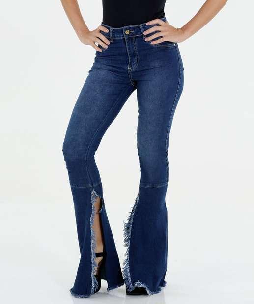Image_Calça Feminina Flare Jeans Barra Sawary
