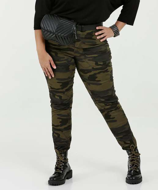 Image_Calça Feminina Sarja Skinny Camuflada Plus Size Razon